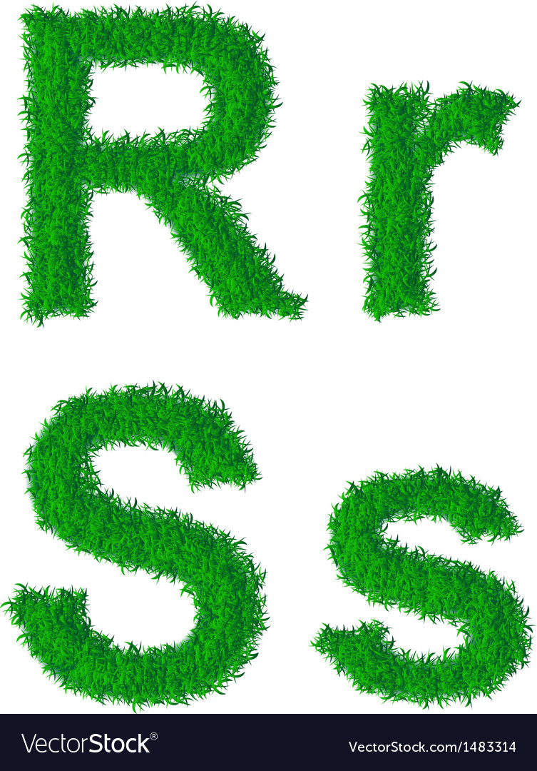 Green grass alphabet vector