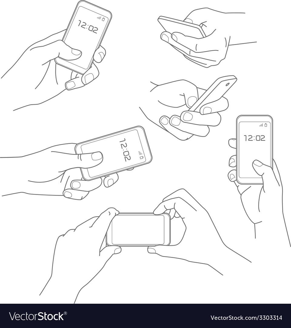 Hand holding smartphone vector