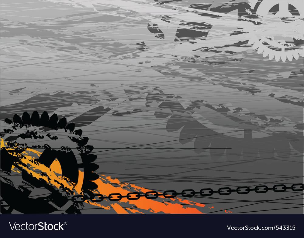 Dark industrial background with cogwheel vector