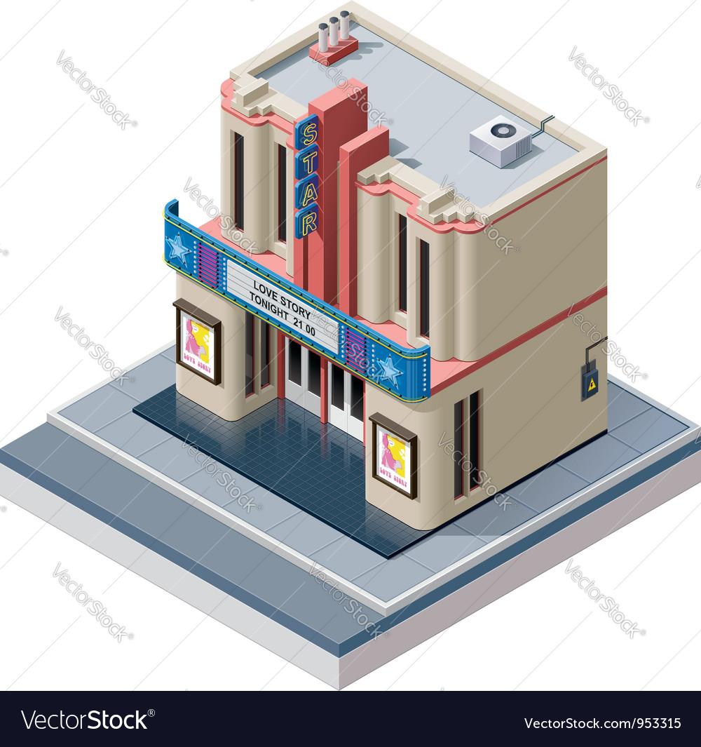 Isometric cinema building vector