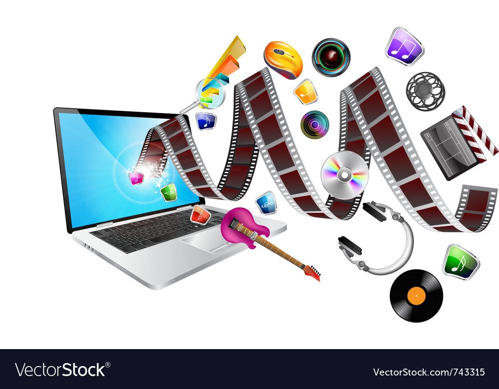 Laptop multimedia vector