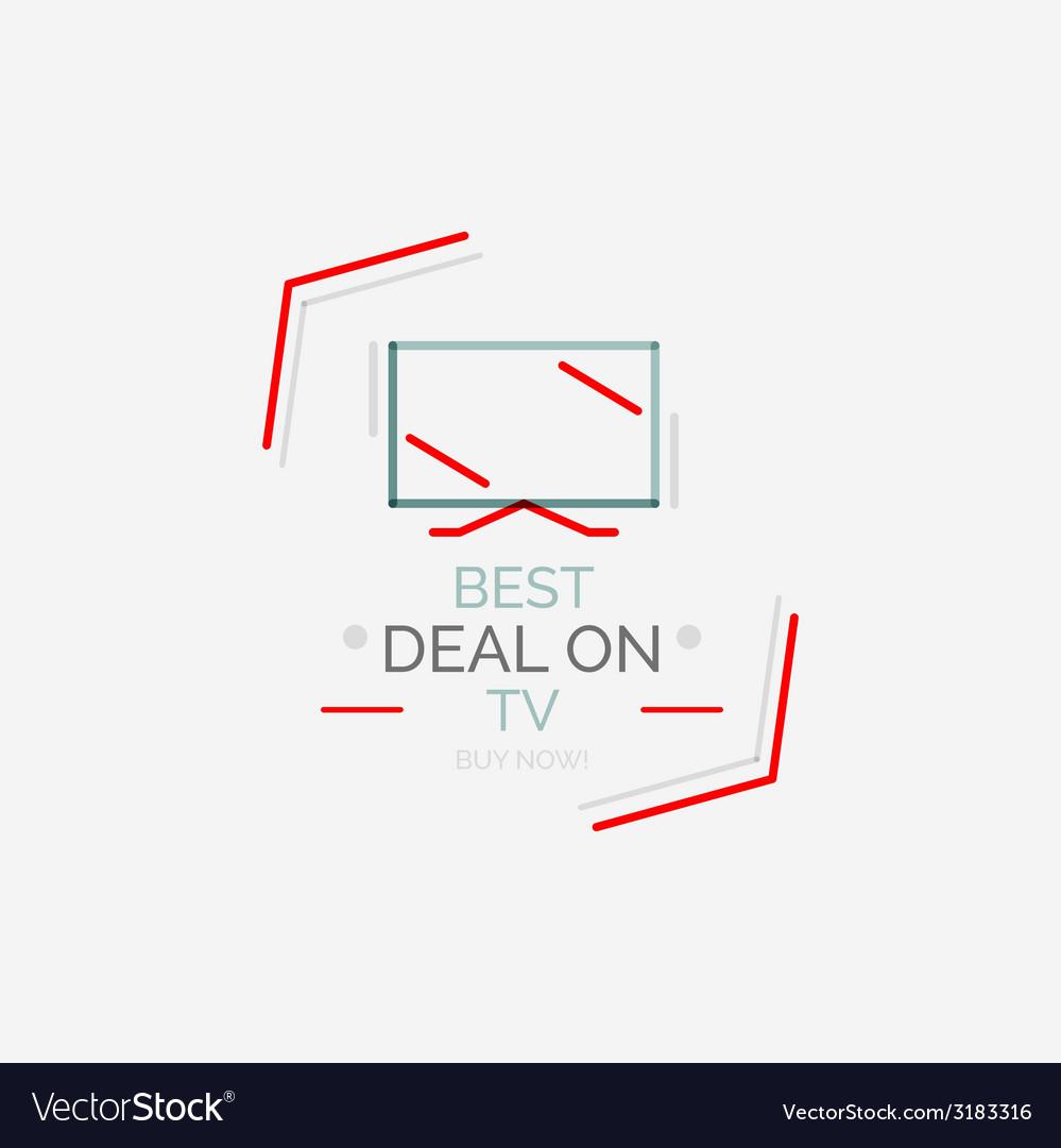 Minimal line design shopping stamps tv vector