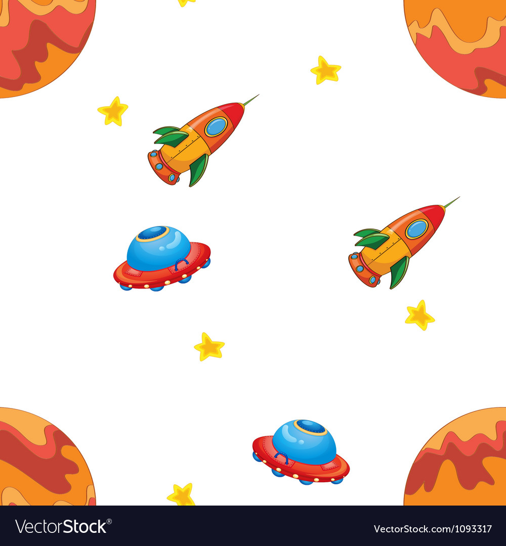 Space shuttle and flying saucers vector