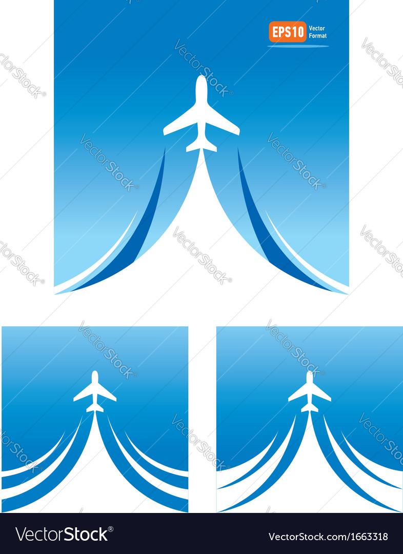 Airplane flight travel air fly cloud sky blue vector