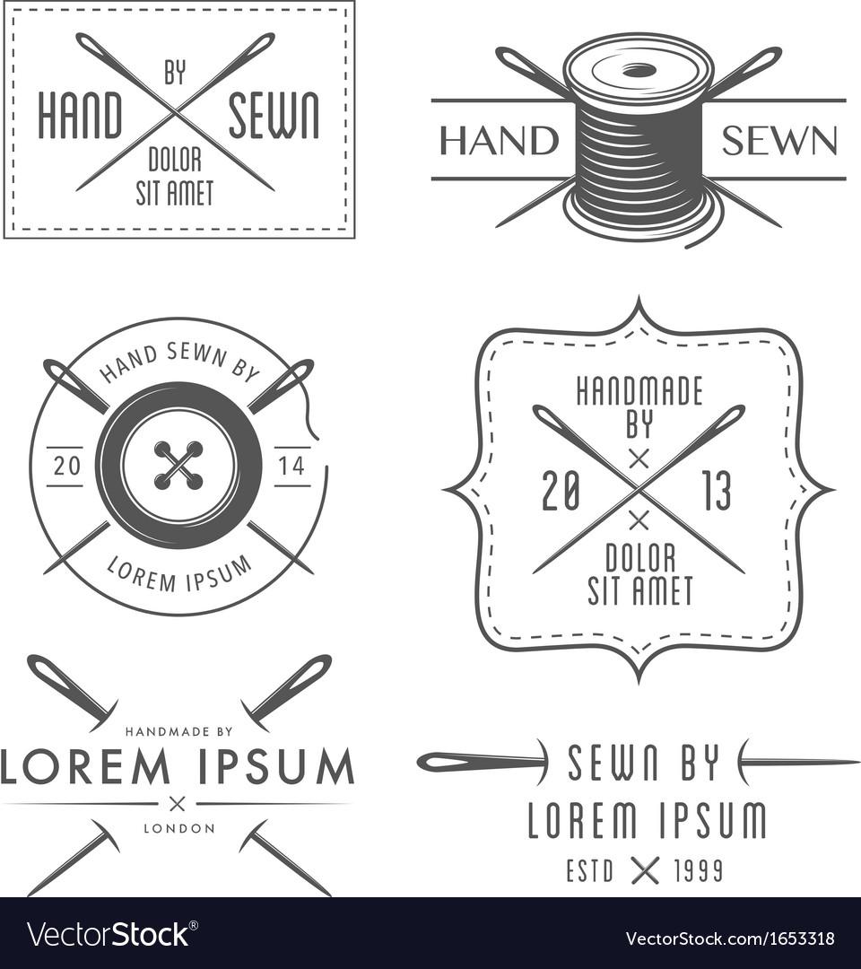 Set of vintage tailor labels and emblems vector