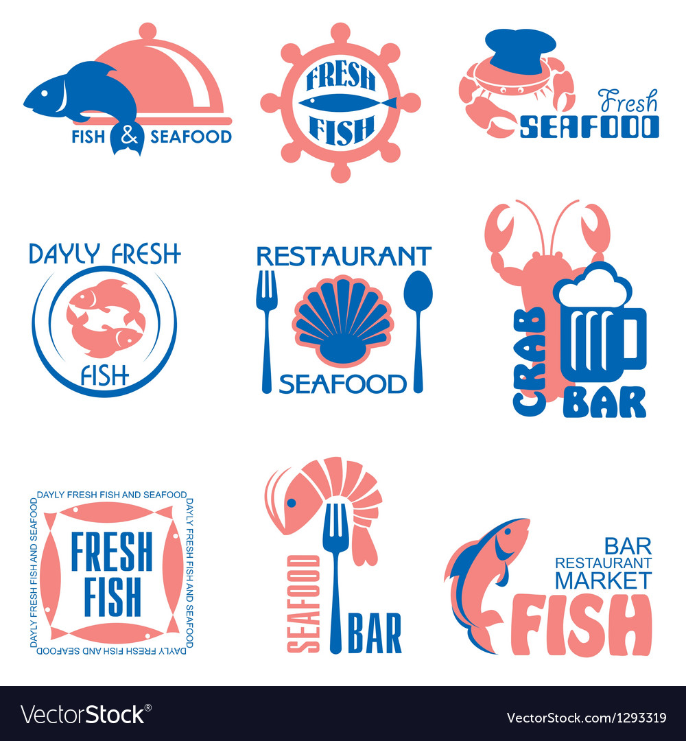 Seafood label vector