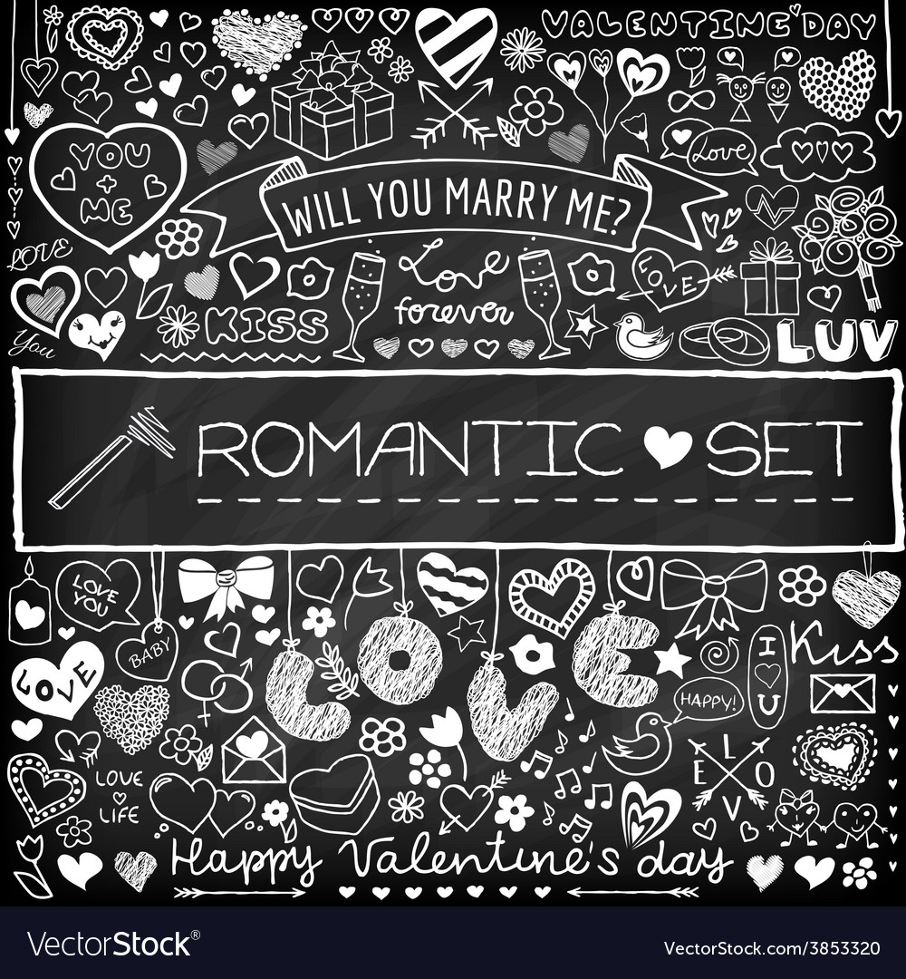 Chalk board romantic doodle set vector