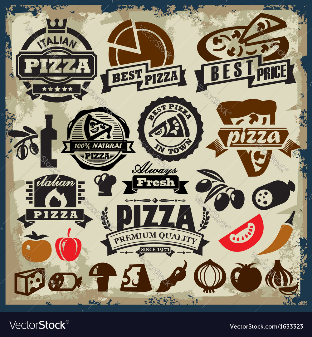 Pizza sign set vector