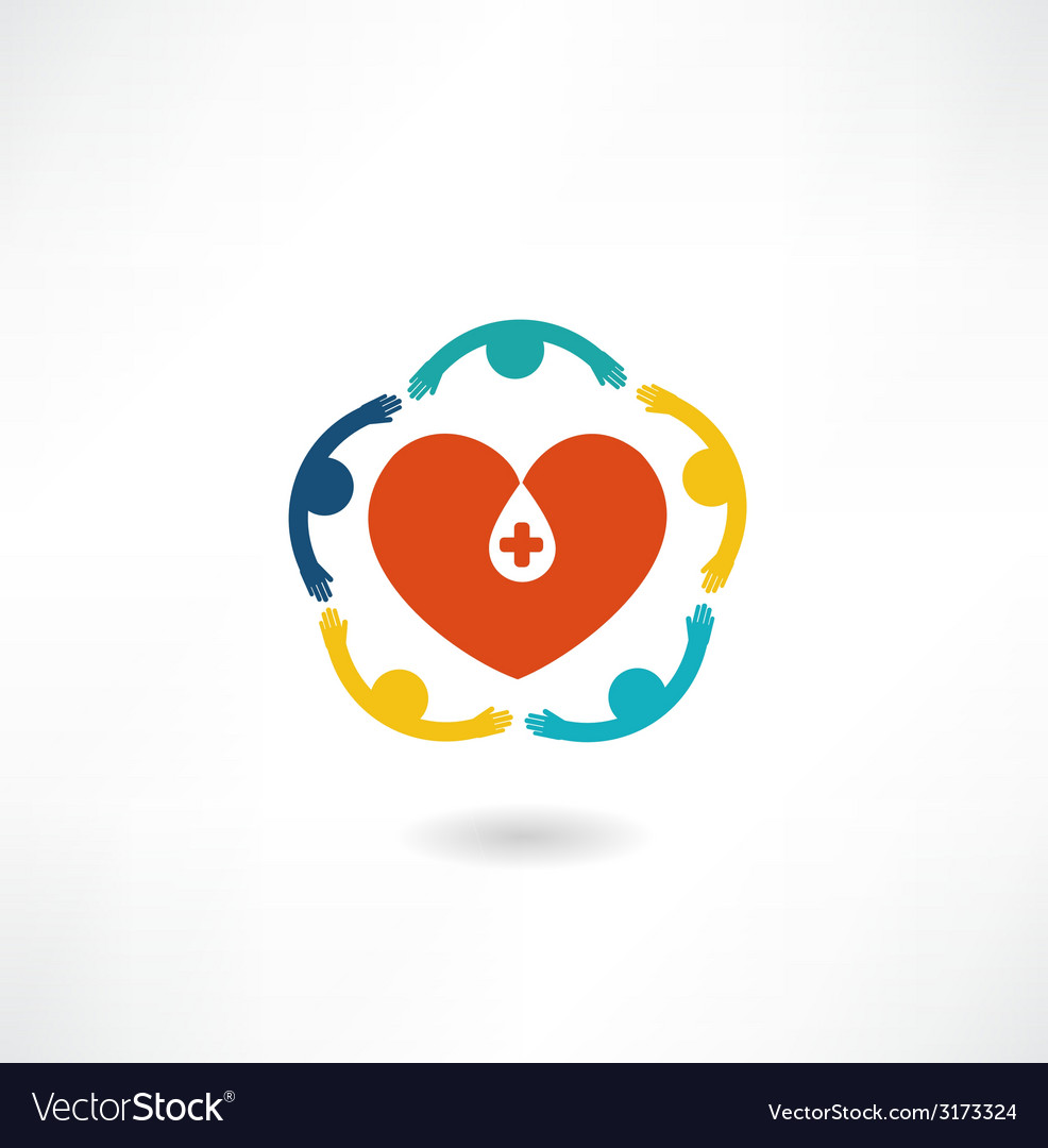 People embrace the heart icon vector