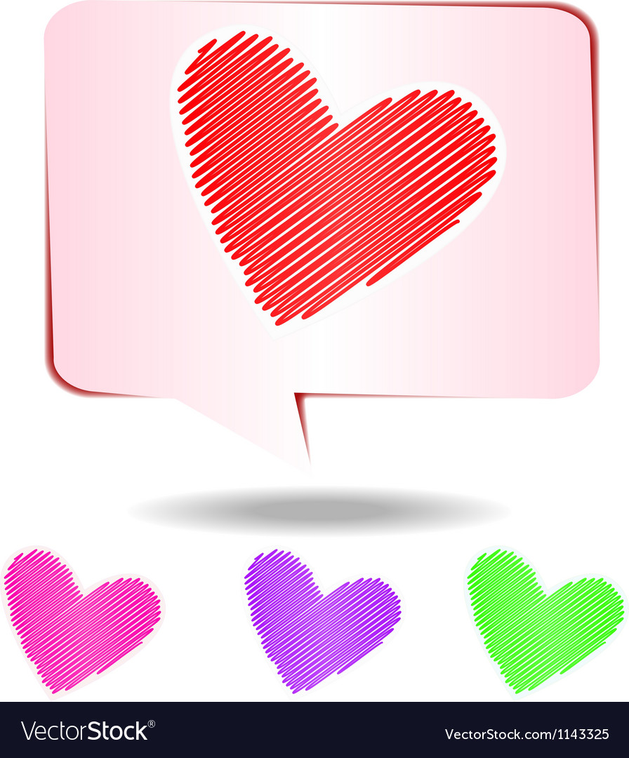Colorful hearts scribble vector