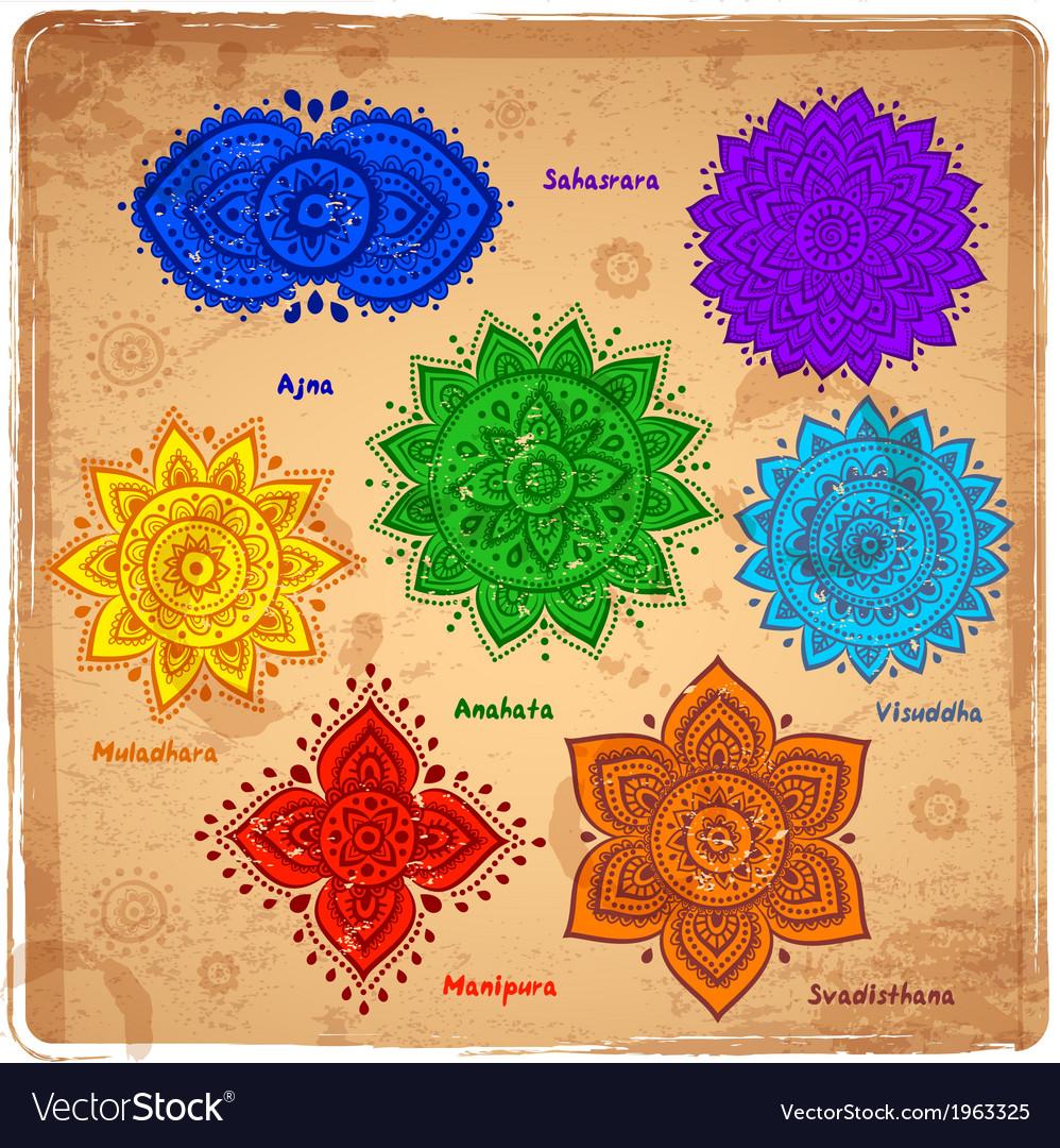 Set of 7 chakras vector