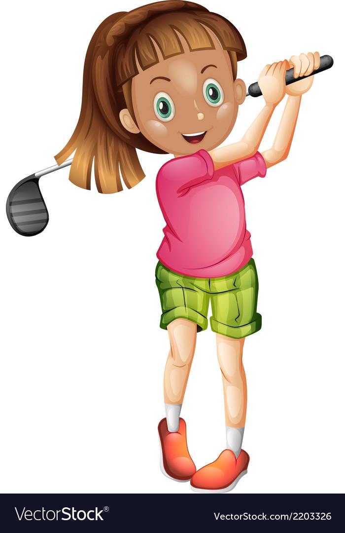 A cute little girl playing golf vector