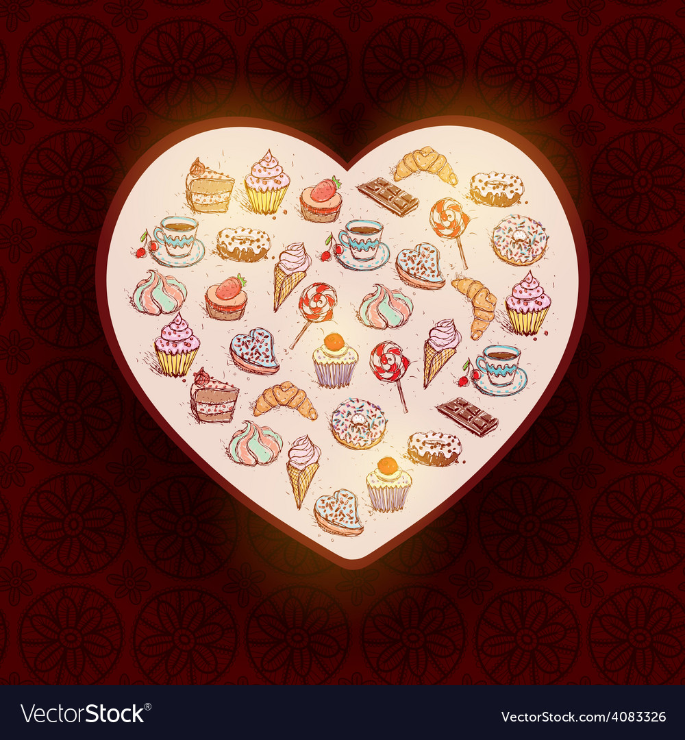 Card hand drawn confectionery set croissant vector