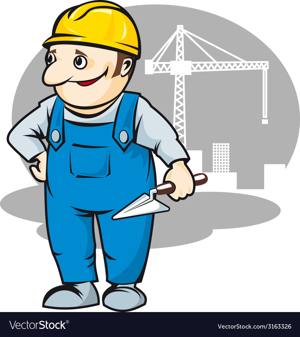 Smiling builder in cartoon style vector