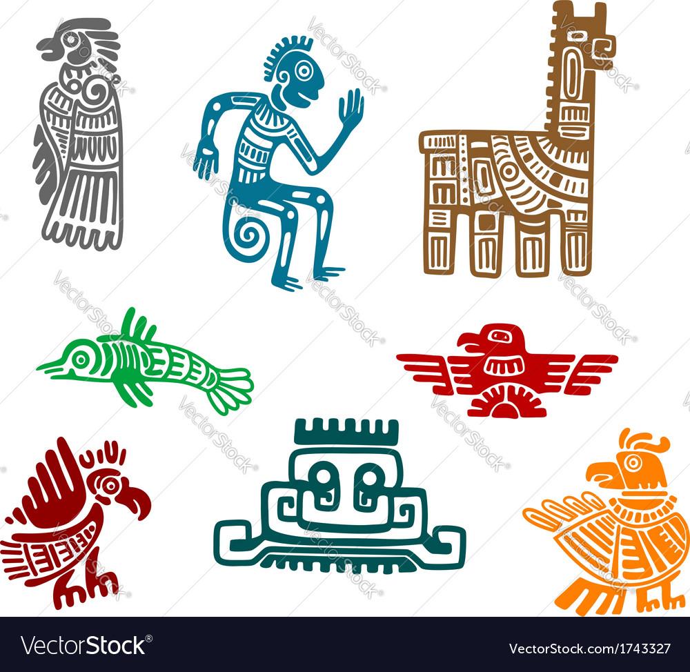 Aztec and maya ancient drawing art vector