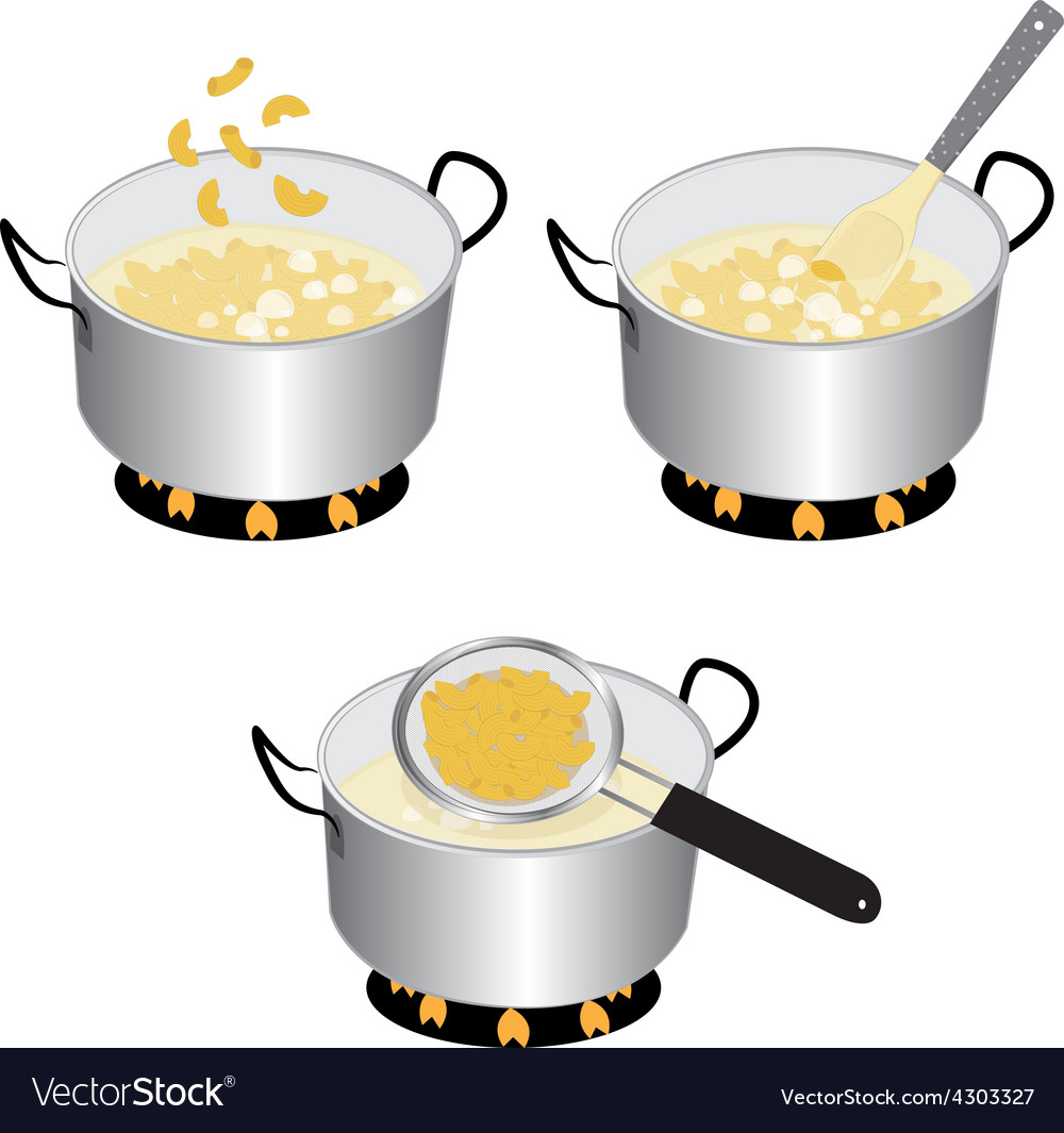 How to cooking macaroni vector