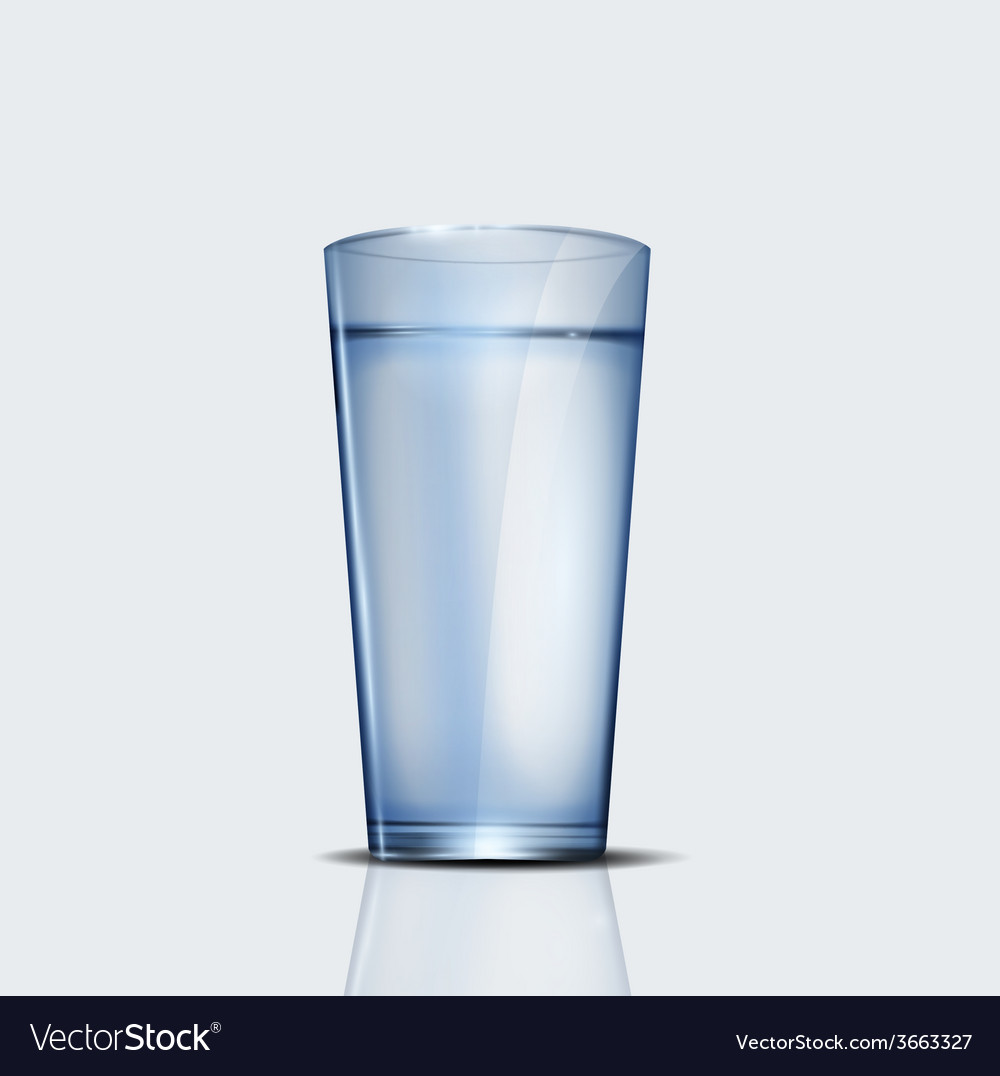 Realistic glass of water vector