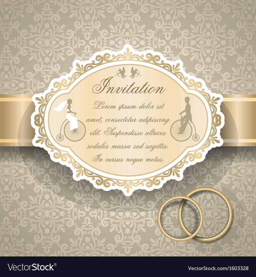 Vintage wedding invitation 6 vector
