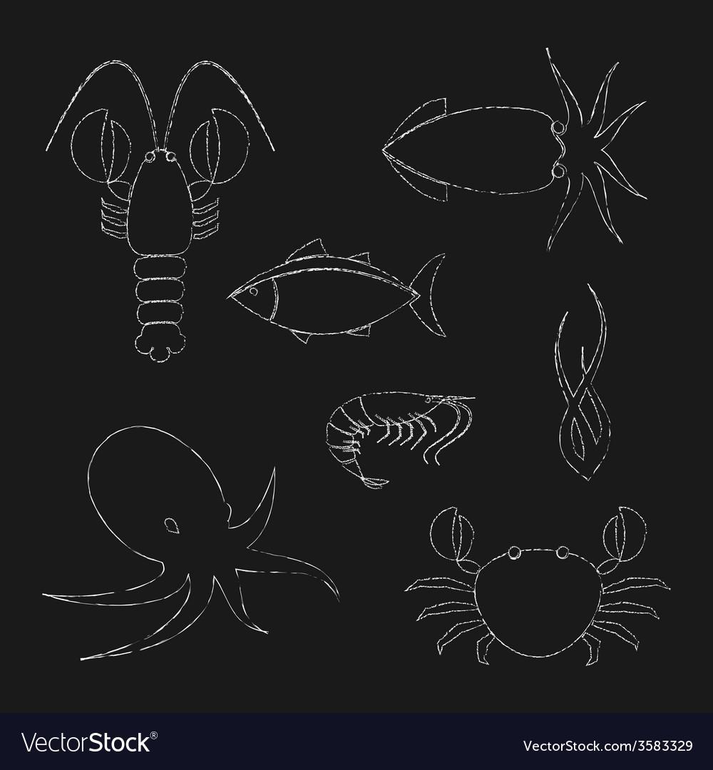 Chalk seafood icons set vector