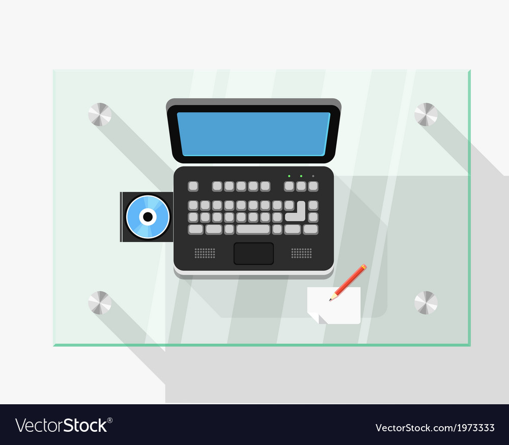 Working place with the black laptop vector