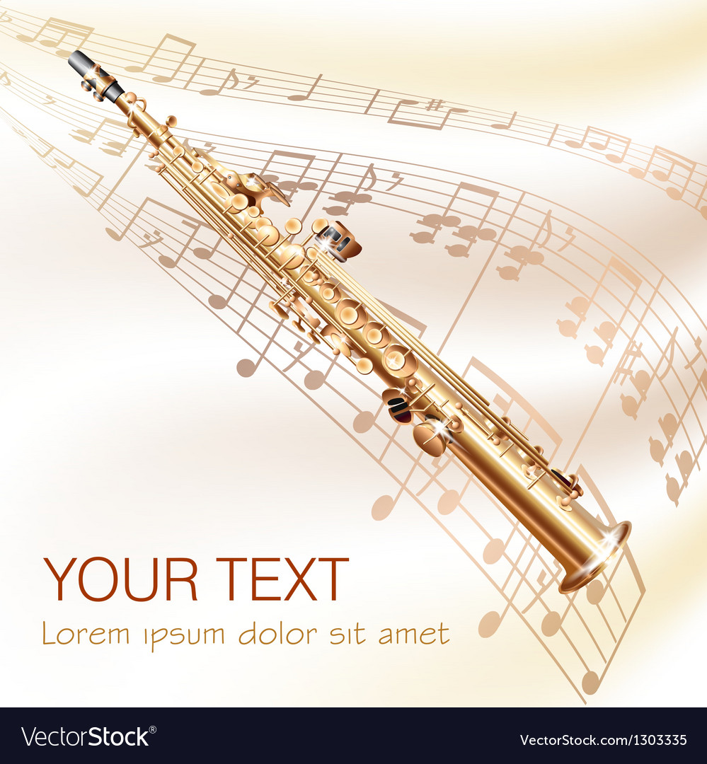 Classical soprano sax on musical notes background vector