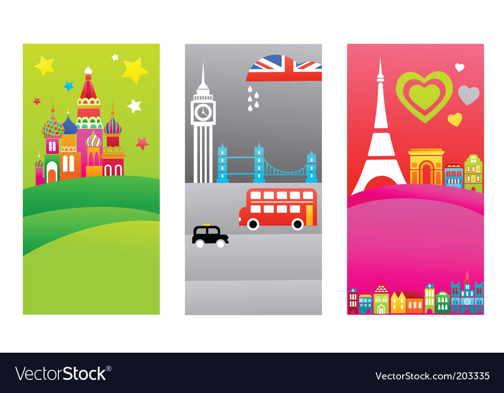 European travel destination banners vector