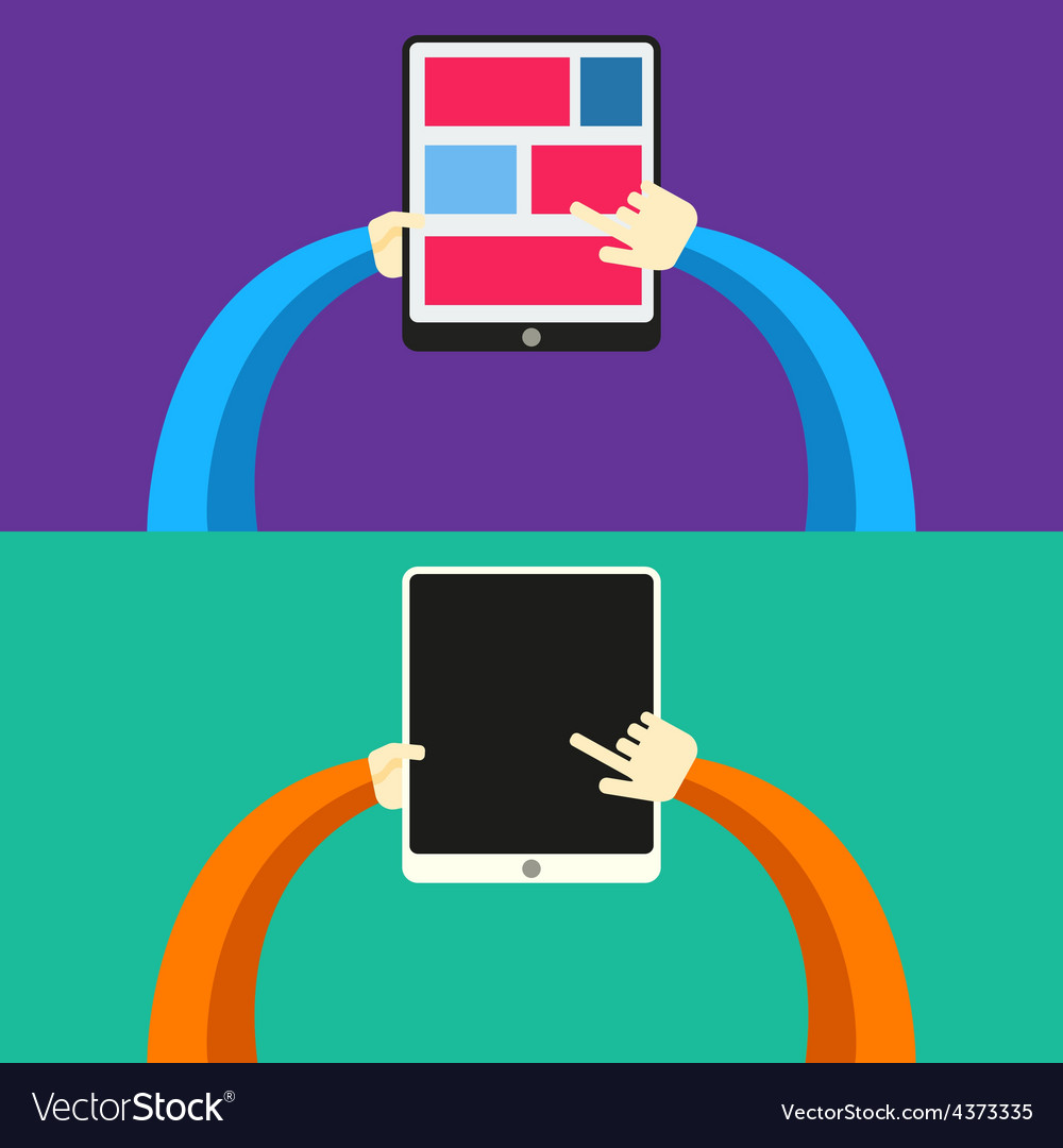 Tablet pc in hands flat style vector