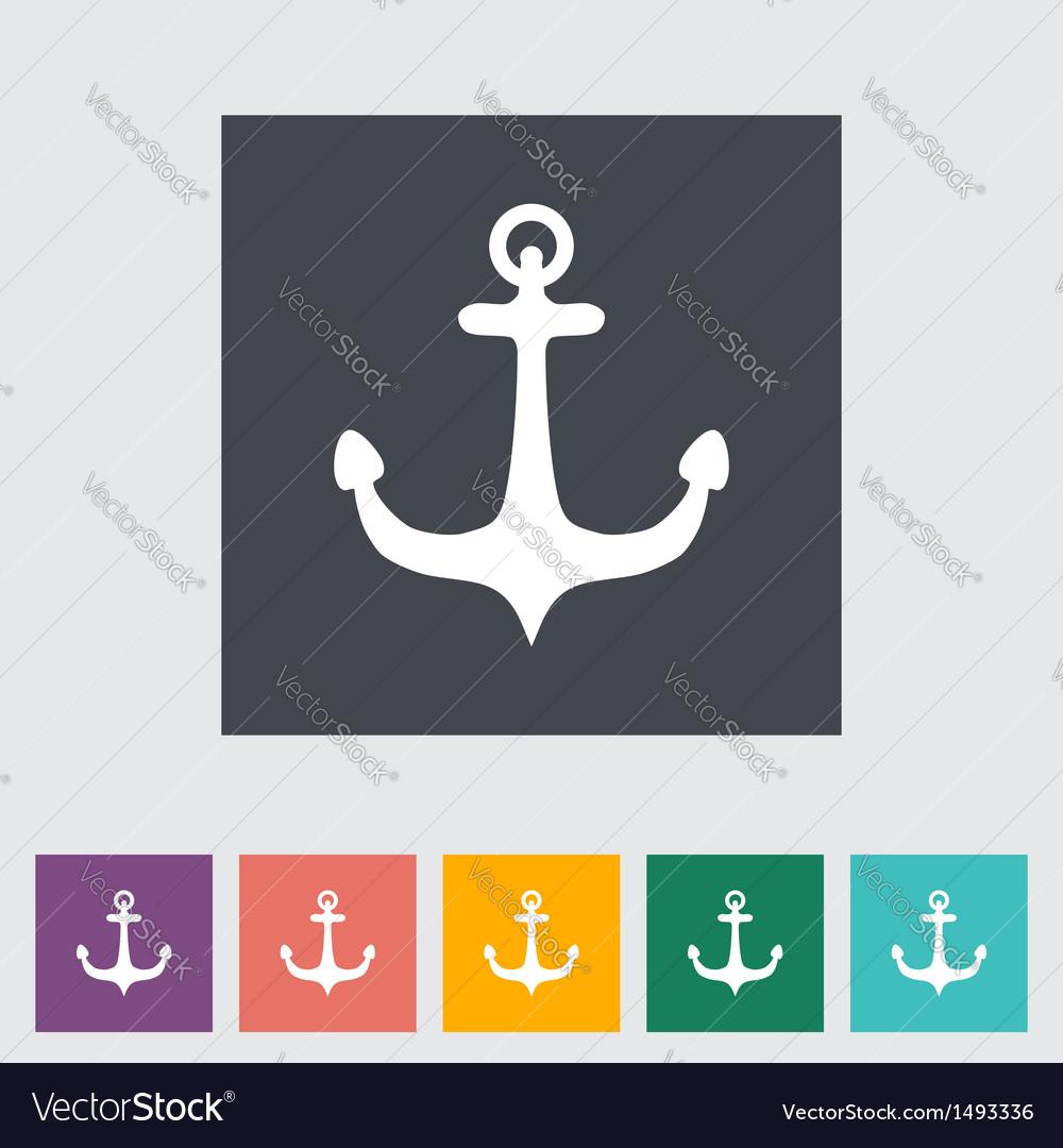 Anchor single flat icon vector