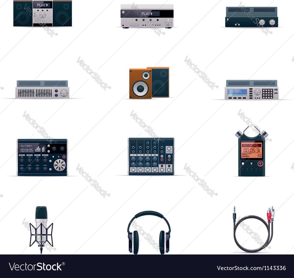 Audio electronics icon set vector