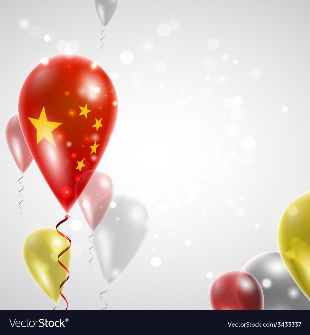 Flag of china on balloon vector