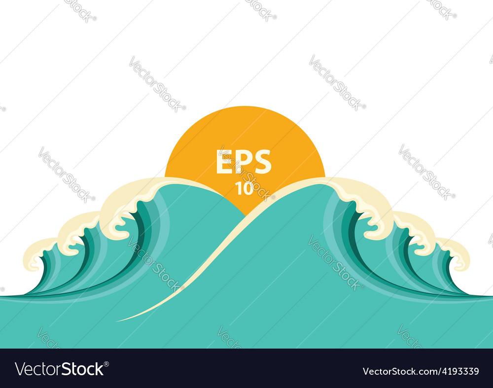 Blue big waves for design vector