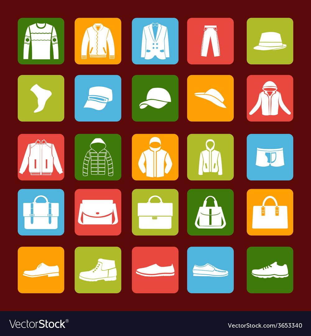 Flat men set mens clothes and accessories icons vector