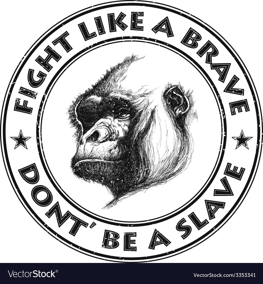 Ape head logo in black and white vector