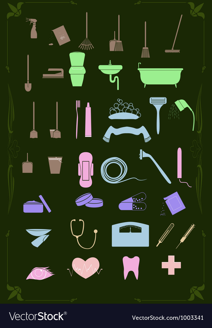 Set of cleaning and healthcare icons in pastel vector