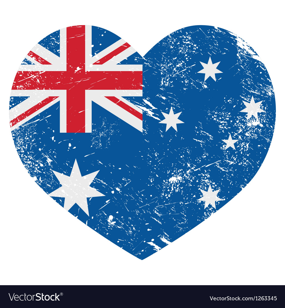 Australia retro heart flag vector