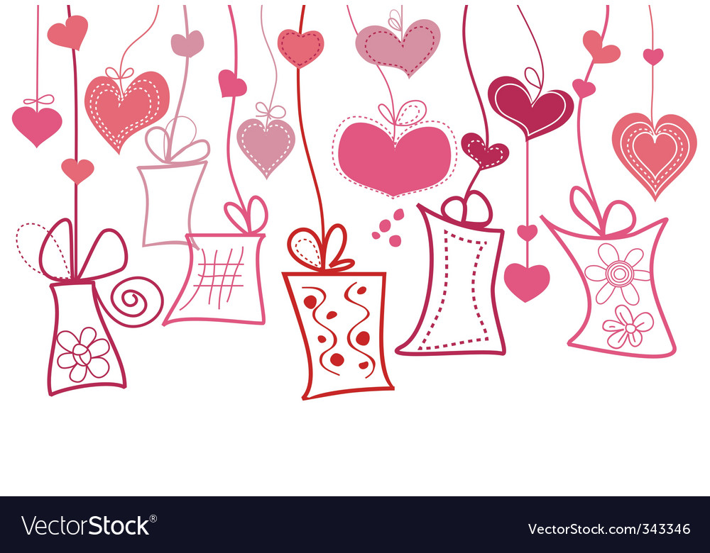Gift boxes and hearts vector