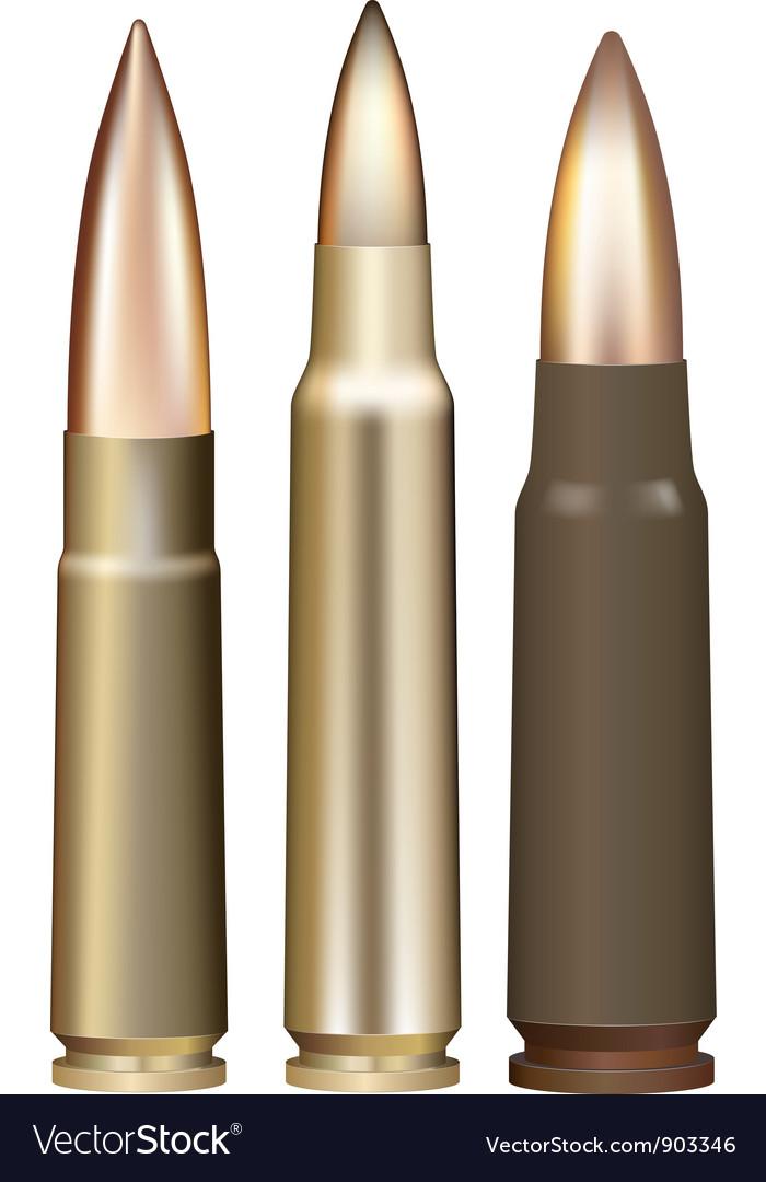 Three rifle bullets vector