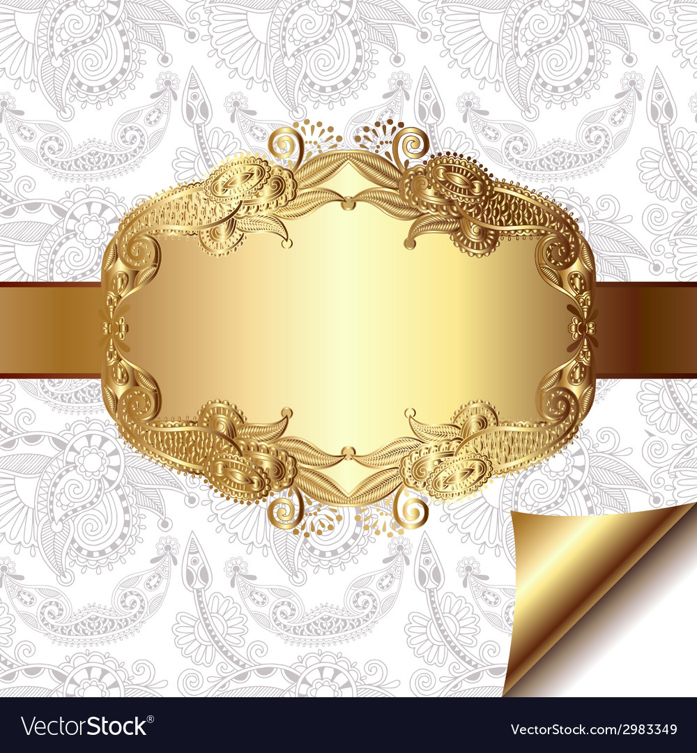 Light floral background with gold ribbon and vector