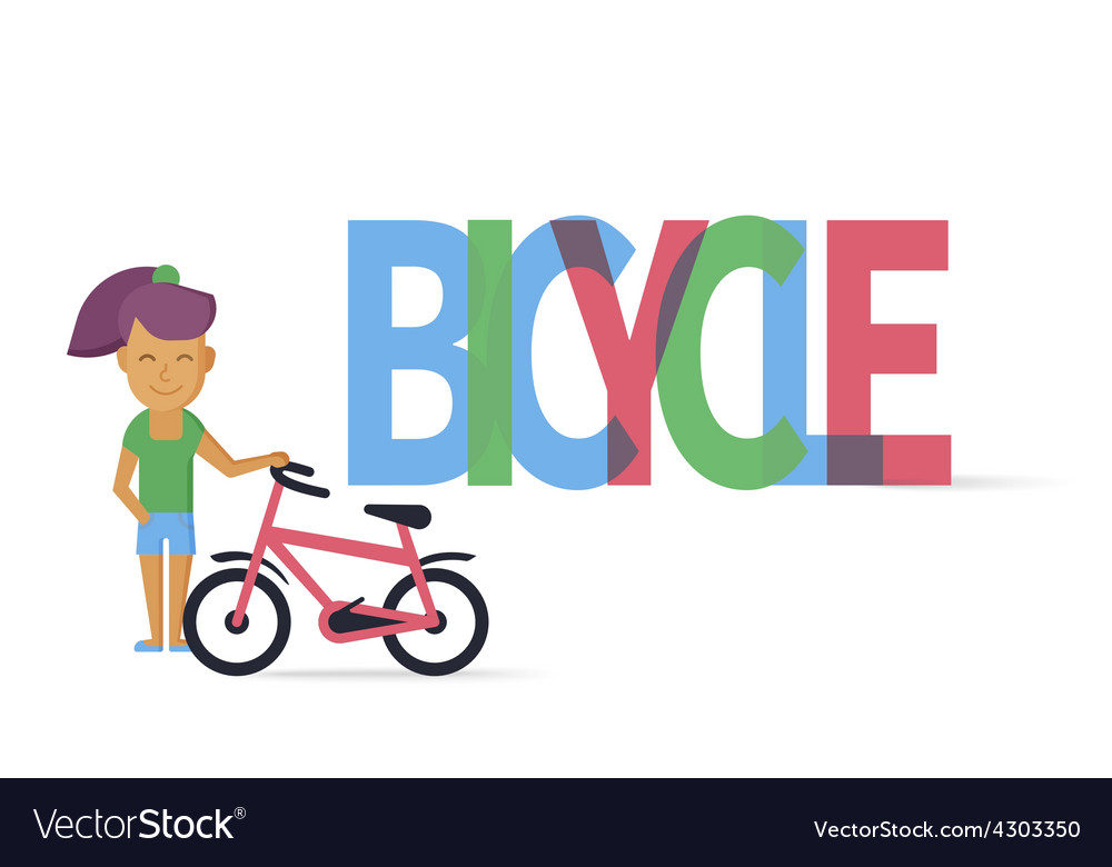 Young girl with bicycle vector