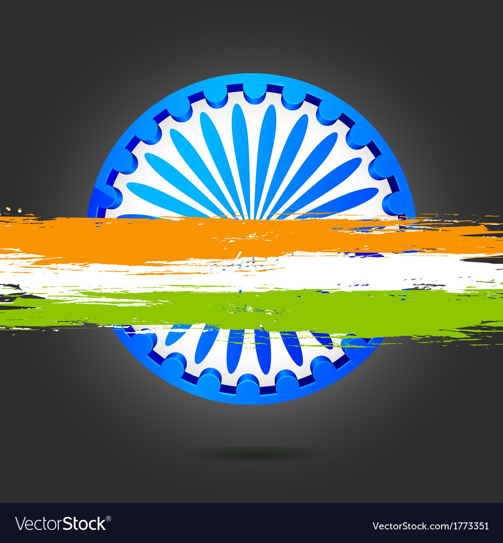 Ashok chakra with grungy india tricolor vector