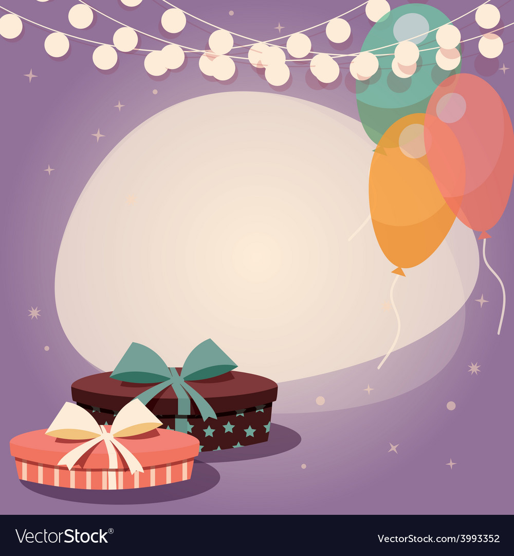 Birthday background with presents and balloons vector