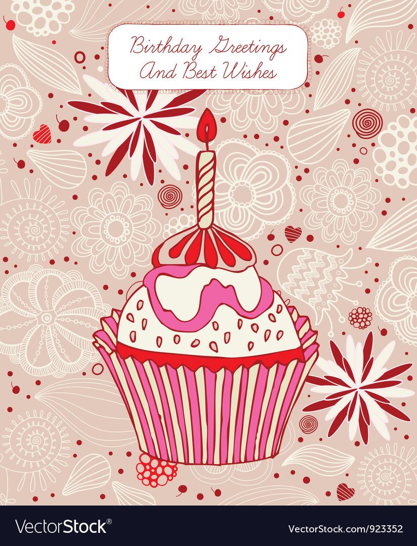 Cupcake birthday card vector