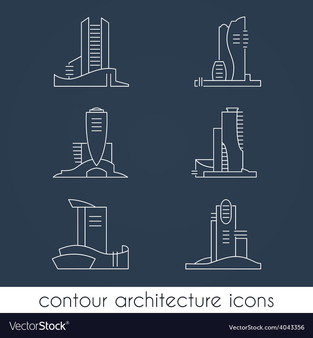 Set of six contour architecture icons vector