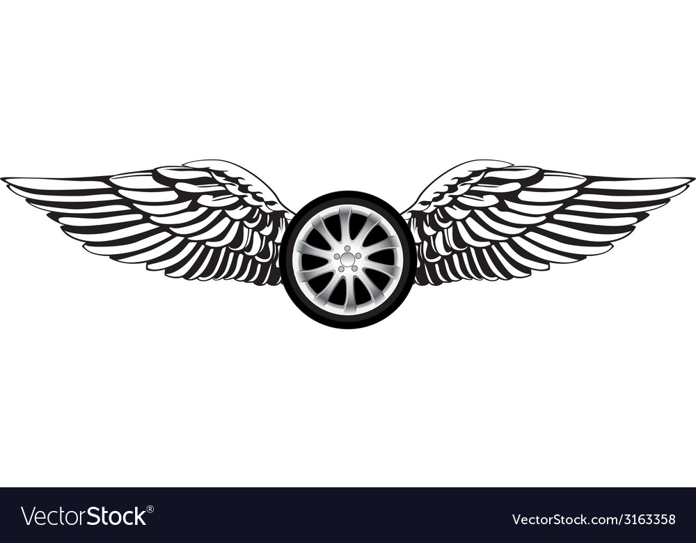 Wheel with angel wings vector