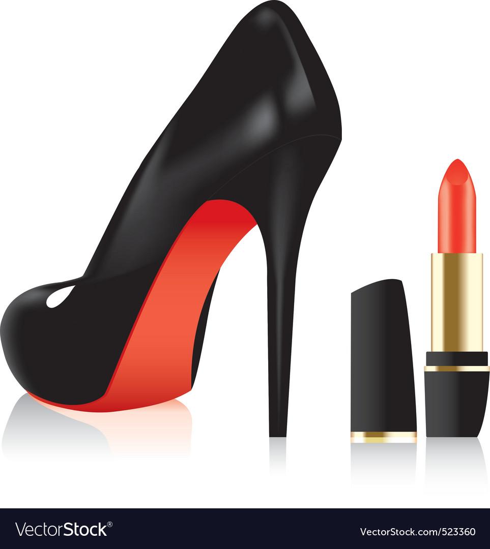 high heel shoe and a lipstick vector