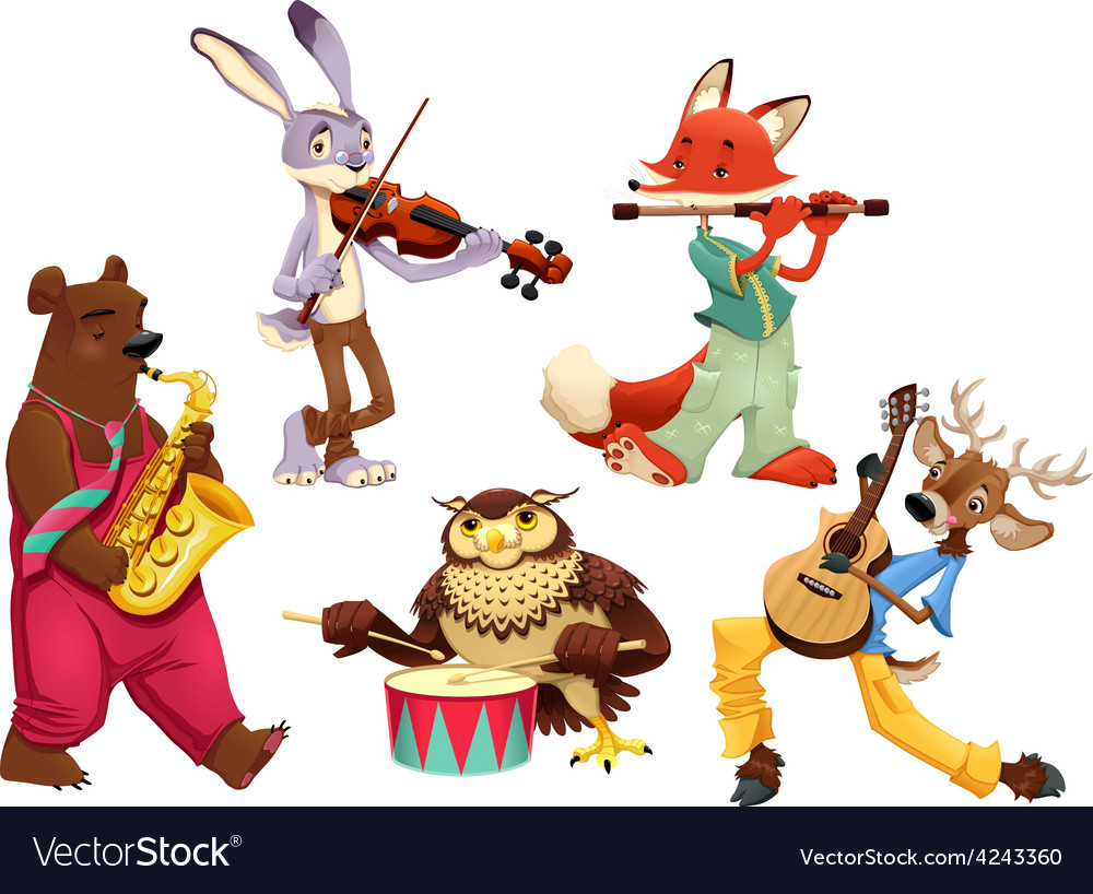 Musician animals vector