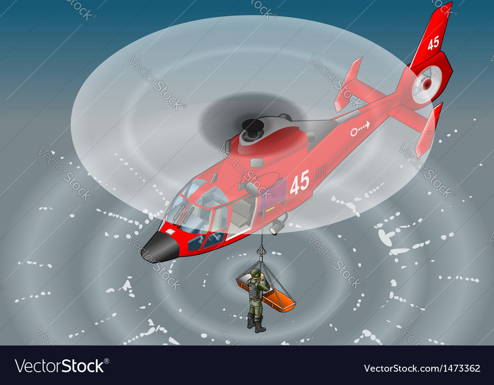 Isometric emergency helicopter in rescue vector
