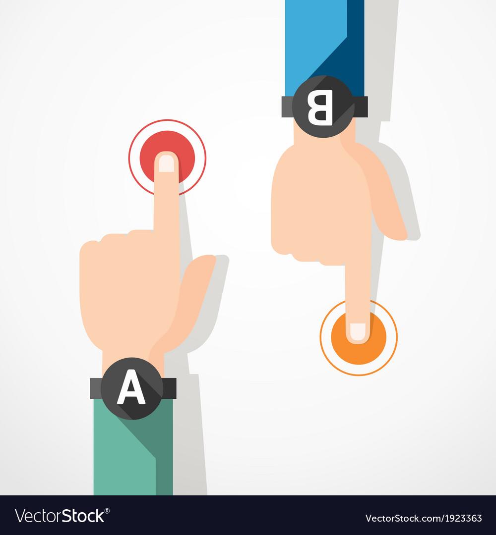 Finger touching banner concept vector