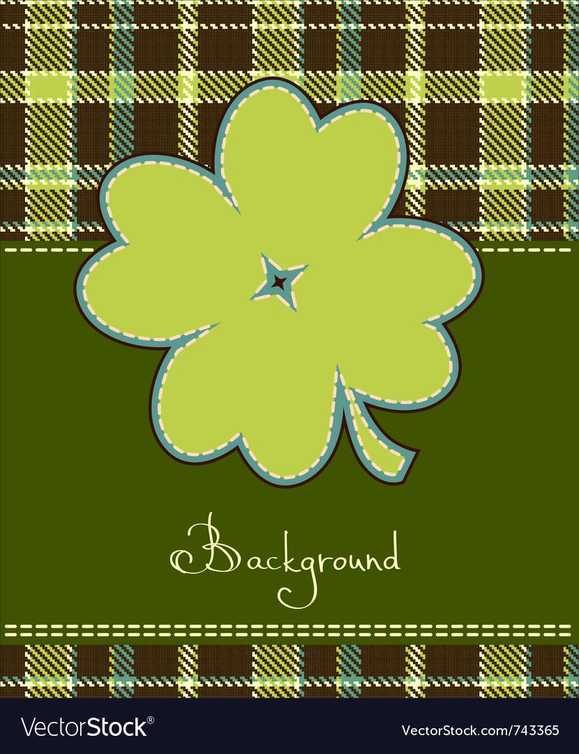 Four leaf clover textile label vector