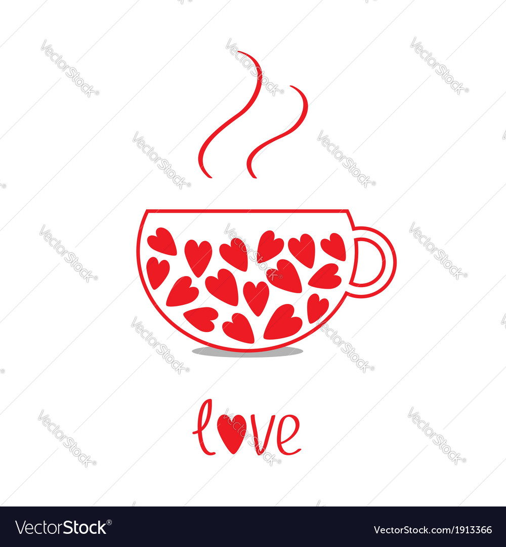 Love teacup with hearts love card vector